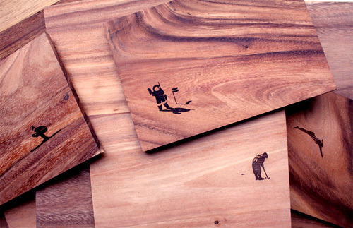 Laser engravings on thin solid wood
