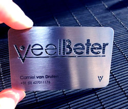 Metal cards made by laser cutting