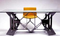 Laser cut steel sample, furniture.