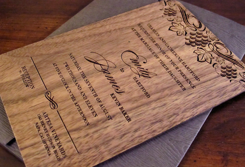 Custom Wedding Invite Solid wood