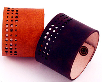 Laser Cut Leather. Bracelet. Cuff