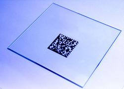 Glass. Co2 Laser MARK. Artwork.