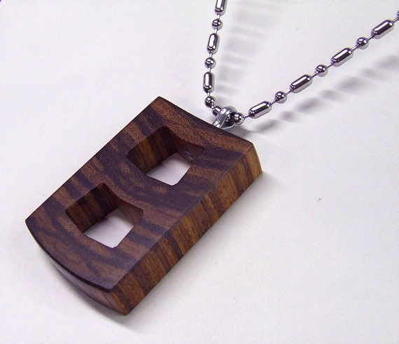Solid Wood Laser cut. Pendant.