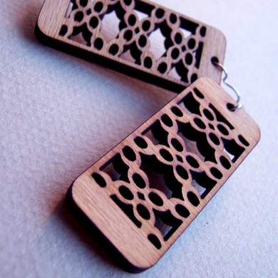 Laser Cut Solid Wood. Earring.