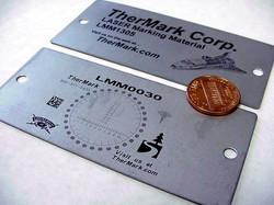 Laser marking on Aluminum sample.