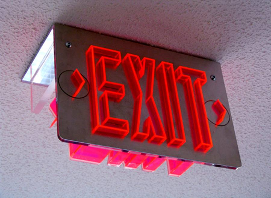 Exit sign - Plastic + metal signage