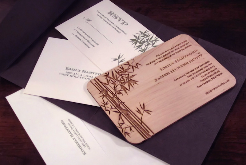 plywood laser cut / engraved Invites