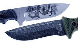 Laser Engraving on Knife blades in black