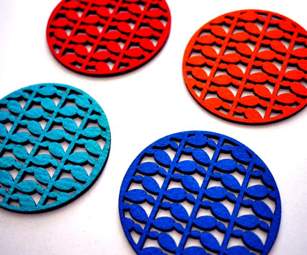 Felt. Laser Cut coasters.