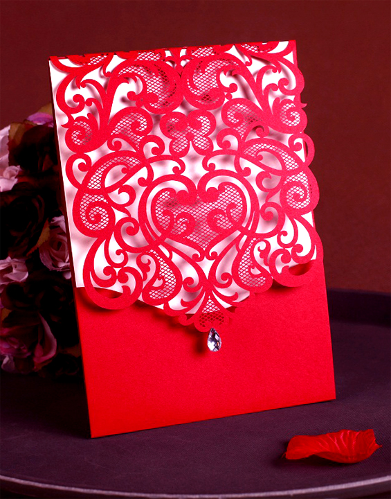 Card stock Wedding Invites Laser Cut