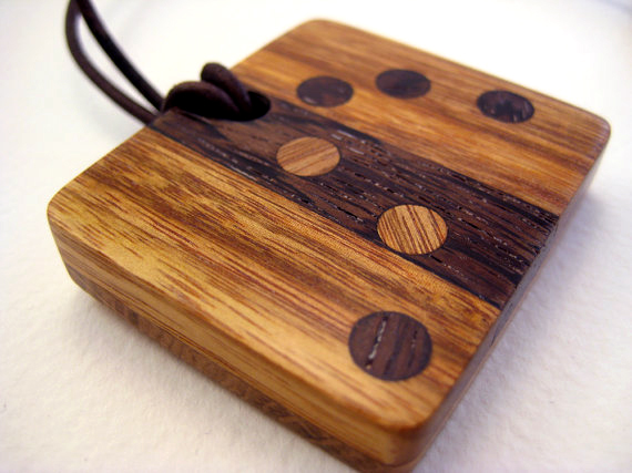 Laser cut solid wood pendant Neckles