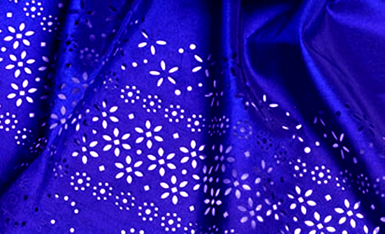 Geometric laser cut designs on Silk