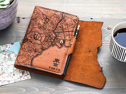 Laser etch Leather Map