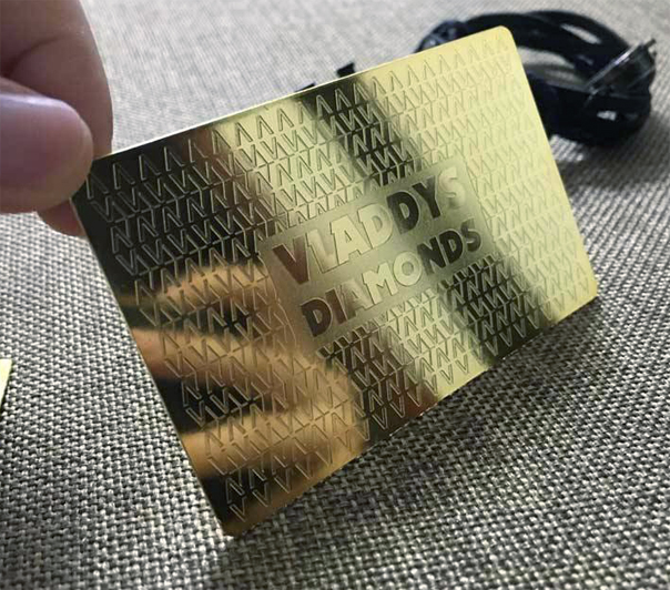 Brass gold plated business cards