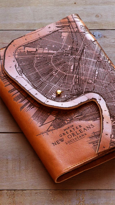 Laser etching leather Map Wallet