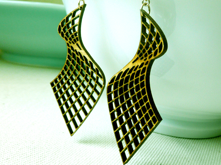 Thin Metal Laser Cut Earrings Brass