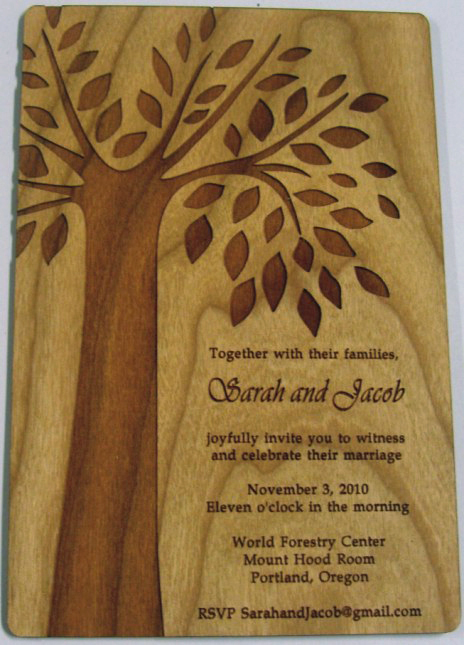 poplar wood laser cut engrave invite