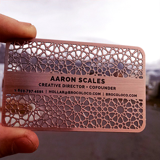 Perforated copper business cards