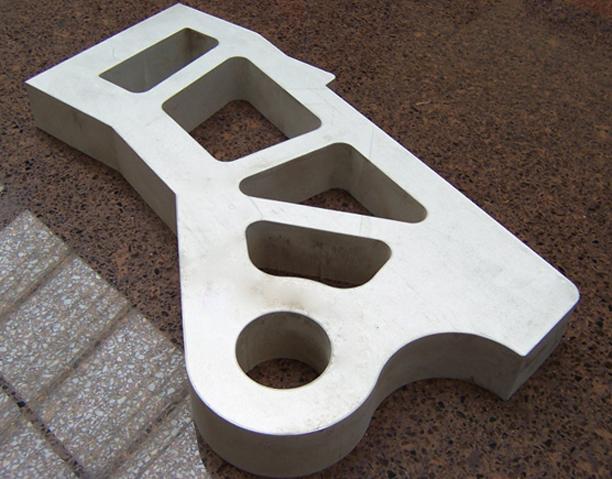 "2""thick Aluminum Waterjet cut sample"