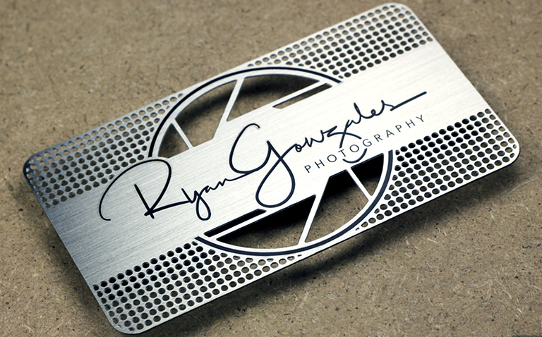 stainless business card cut etch