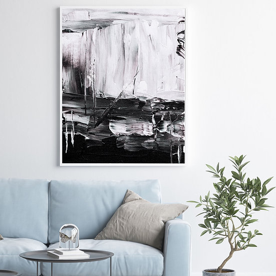Black & White Abstract Oil 1
