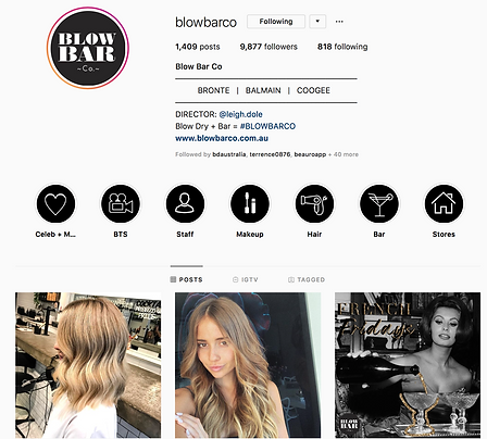 Instagram for Blow Bar Co