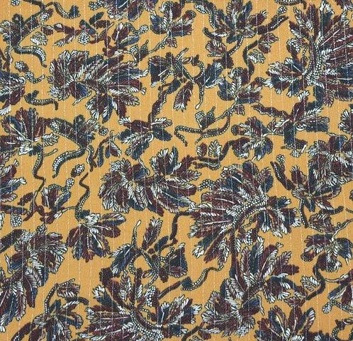 Foulard plumes ocre lurex
