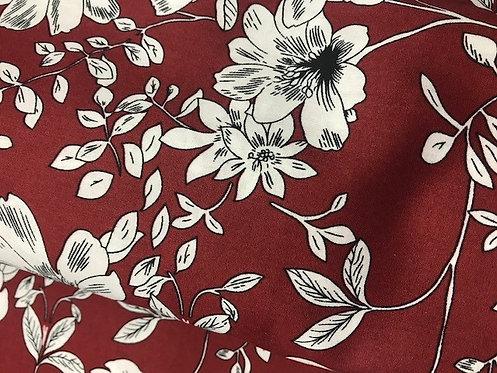 Foulard croquis floraux fond rouge