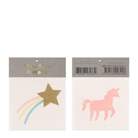 Set de 2 planches de tatouages temporaires Etoile et licorne PAILLETTES