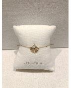 bracelet coquillage vert doré
