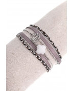 bracelet double tours arbre de vie pierre trèfle argent gris
