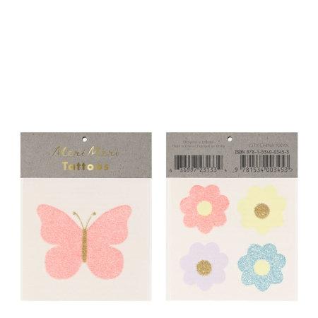 Tatouages temporaires Papillon et fleurs PAILLETTES