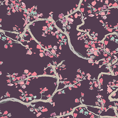 Foulard Enchanted leaves plum