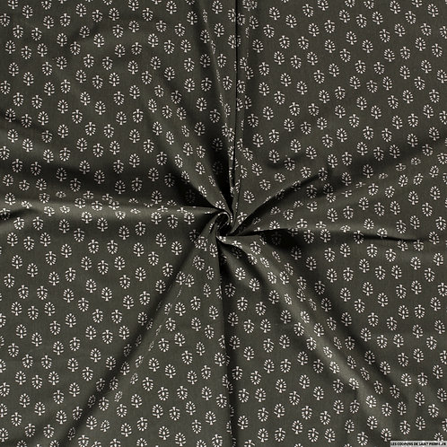 Foulard feuille blanche fond vert kaki