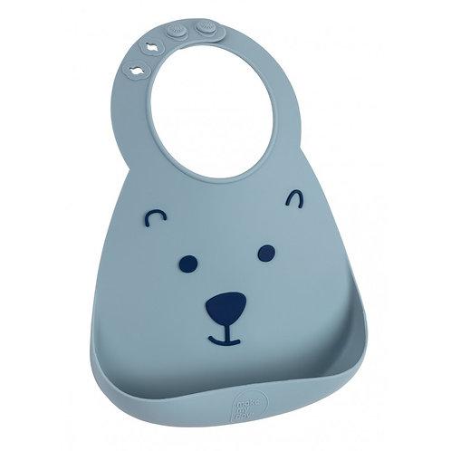 Bavoir silicone l'ourson bleu grisé