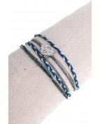 bracelet double tours trèfle ajouré argent bleu