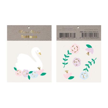 Tatouages Cygne et fleurs
