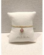 bracelet jonc pierre rhodonite doré