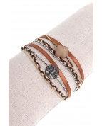 bracelet double tours arbre de vie pierre trèfle argent marron