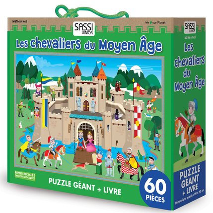 GIANT PUZZLE AND BOOK - LES CHEVALIERS DU MOYEN AGE