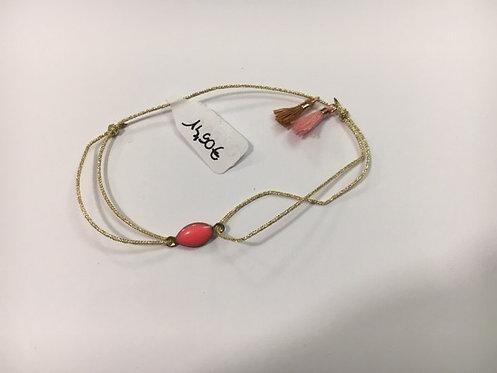 Bracelet lien Doré mini rouge