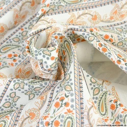Foulard Satin de coton frise cachemire