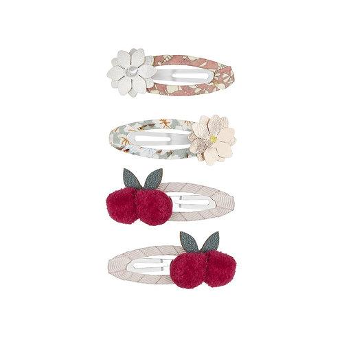Barrettes cerise fleurs
