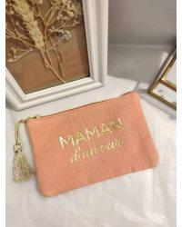 Pochette Maman d'amour VIEUX ROSE