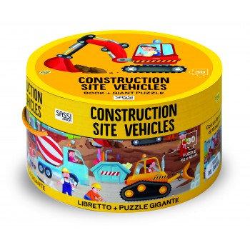 Les véhicules de chantier- Puzzle Géant et livre
