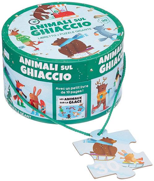 Les animaux sur la glace  livre + puzzle géant