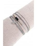 bracelet double tours petite plume argent gris