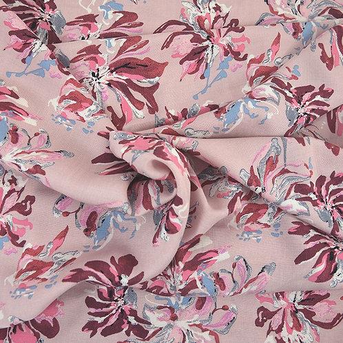 Foulard fleurs sauvage rose