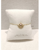 bracelet coquillage rose doré