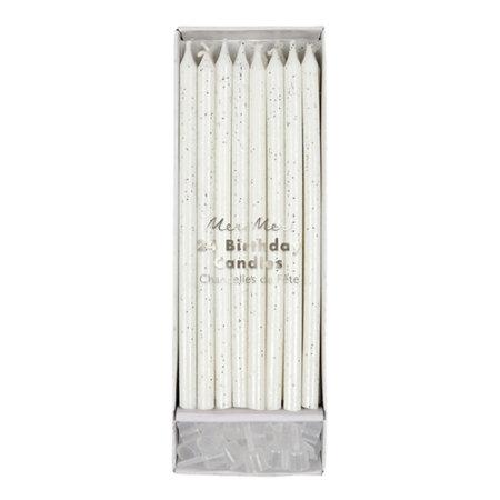 bougies d'anniversaire paillettes argentées